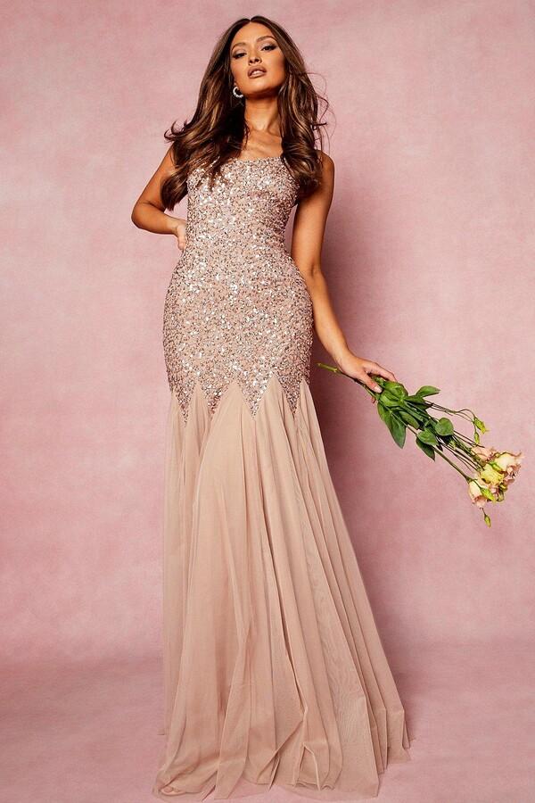 Thumbnail for your product : boohoo Bridesmaid Hand Embellished Godet Mesh Maxi Dress