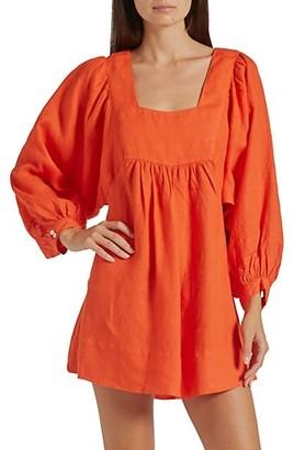 Joie Jade Puff-Sleeve Linen Dress