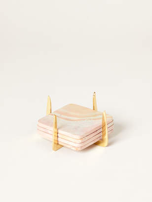 Rose & Fitzgerald Pure Brass and Marbled Soapstone Coasters, Set of 4