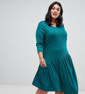 Junarose uneven drop hem dress-Green