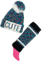 Pink Platinum Blue 'Cute' Beanie & Leg Warmer Set
