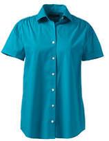Lands' End Women's Short Sleeve Shirred Stretch Shirt-Navy Plaid