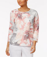Alfred Dunner Rose Hill Floral-Print Beaded Sweater