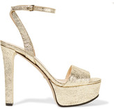 Gucci Metallic Cracked-leather Platform Sandals - Gold