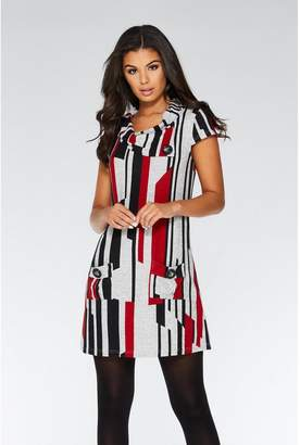 Quiz Red Black and Grey Cap Sleeve Tunic Dress