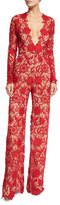 Naeem Khan Long-Sleeve Plunging Lace Jumpsuit, Red