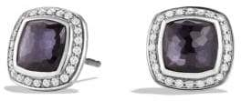 David Yurman Albion Earrings With Black Orchid And Diamonds, 7Mm