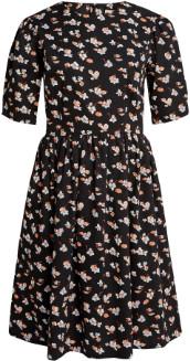 People Tree Black Cotton Janey Floral Dress - cotton | black | 8 - Black/Black