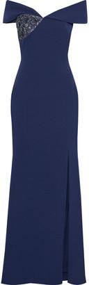 Badgley Mischka Off-the-shoulder Embellished Stretch-crepe Gown