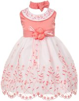 Shanil Inc. Baby Girls White Floral Jeweled Easter Flower Girl Bubble Dress 6M