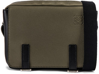 Loewe Military Messenger Bag in Khaki Green & Black | FWRD