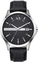 Armani Exchange Black Leather Strap Mens Watch