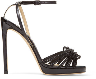 Jimmy Choo KAITE 120 Black Patent and Suede Platform Sandals with Crystal-Embellished Hotfix Bow