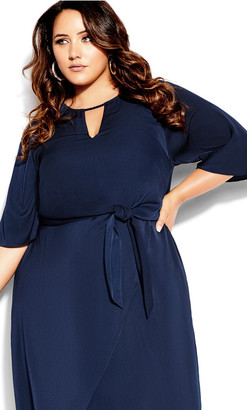 City Chic Sleek Tie Dress - dark navy
