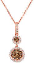 LeVian Le Vian Chocolatier® Diamond Double Circle Pendant Necklace (3/4 ct. t.w.) in 14k Rose Gold