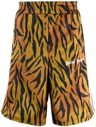Palm Angels Tiger-Print Track Shorts