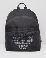 Armani Jeans Mesh Logo Backpack in Black