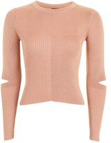 Topshop Splice Elbow Knitted Top