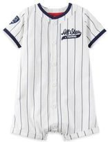 """Carter's Boy's Short Sleeve """"All Star"""" Striped Romper in Ivory"""
