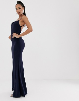 Club L London cowl back lace insert maxi dress-Navy