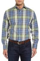 Thomas Dean Men's Regular Fit Plaid Sport Shirt