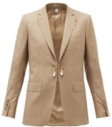 Burberry Pearl-charm Single-breasted Wool-blend Jacket - Womens - Beige