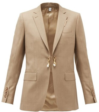 Burberry Pearl-charm Single-breasted Wool-blend Jacket - Beige