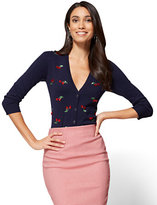 New York & Co. 7th Avenue Chelsea Cardigan - Elbow Sleeve - Cherry Print