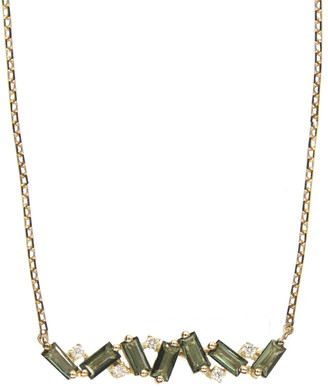 Suzanne Kalan Green Envy Topaz Baguette and Diamond Bar Necklace - Yellow Gold