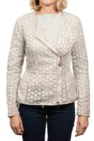 Moncler Majorelle Tonal Embroidered Asymetric Zip Jacket Women's.