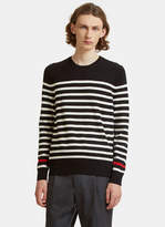 Saint Laurent Striped Knit Crew Neck Sweater In Black And White