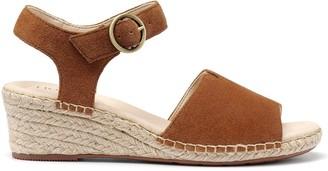 Hotter Fiji Wedge Ankle Strap Sandals - Dark Tan