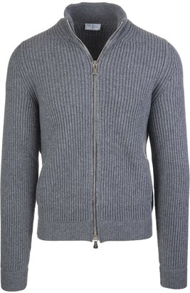 Fedeli Stone Grey Man Pullover With Zip