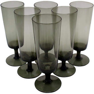 One Kings Lane Vintage Smoke Glass Stemware - Set of 6 - Retro Gallery