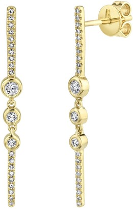 Ron Hami 14K Yellow Gold Diamond Bar Earrings - 0.30 ctw