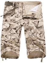 NiSeng Men's Patterned Shorts Loose Fit 3/4 Length Cargo Shorts with Multipocket