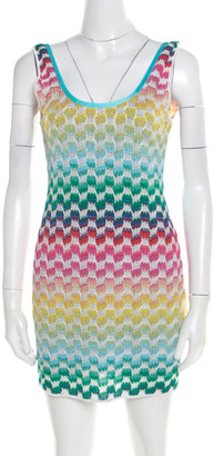 Missoni Mare Multicolor Patterned Knit Scoop Back Beach Cover Up Dress M