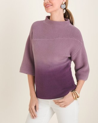 Chico's Violet Ombre Mock-Neck Pullover Sweater