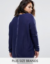 Brave Soul Plus Sweater With Zip Back