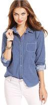 DKNY Shirt, Long-Sleeve Chambray Printed Button-Down