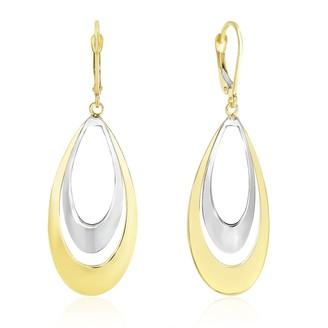 Mayamila 14k Two-Tone Gold Graduated Open Double Teardrop Earrings