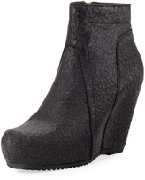 Rick Owens Leather Wedge Ankle Boot, Black