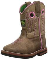 John Deere Kids' Inf Light BRN W/Pink Stitch PO Pull-On Boot