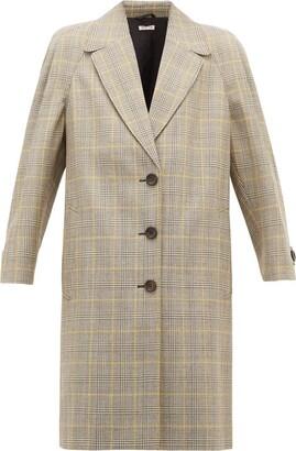 Miu Miu Prince Of Wales-check Virgin Wool Coat - Beige Multi