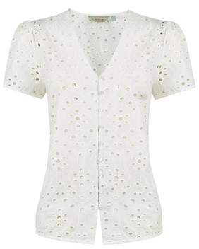 Dorothy Perkins Womens Petite Ivory Broderie Cotton Top
