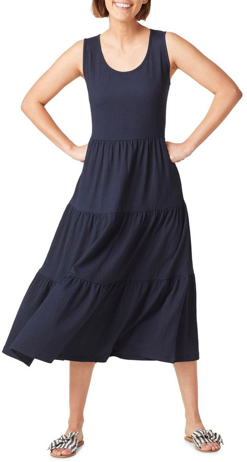 French Connection Jersey Tiered Midi Dress