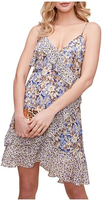 ASTR the Label Print Mix Mini Dress (Periwinkle Floral) Women's Clothing