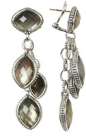 Lagos Sterling Silver Black Mother of Pearl Doublet 3-Drop Earrings