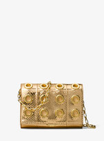 Michael Kors Yasmeen Small Grommeted Metallic Snakeskin Clutch