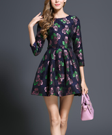 Navy & Pink Floral A-Line Dress - Plus Too
